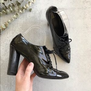 PAOLO Patent Leather Laced Pointed Toe Heels